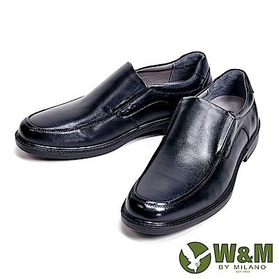 W&M 氣墊舒適素面直套款 男皮鞋-黑