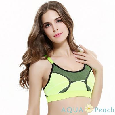 運動內衣 混色線條交錯無鋼圈內衣 (螢光黃)-AQUA Peach