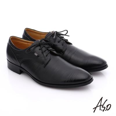 A.S.O 超輕雙核心 雙色拼接真皮綁帶奈米紳士鞋 黑色