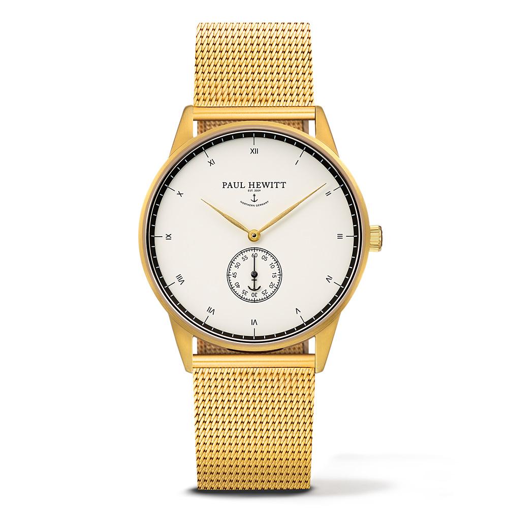 PAUL HEWITT Signature Line金色錶帶 單眼白錶盤 金錶框38mm