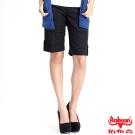 BOBSON 女款條紋伸縮反褶五分褲(黑135-88)