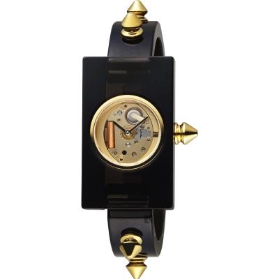 GUCCI古馳 GRG 狂野鉚釘造型S手環錶-金x黑/24mm
