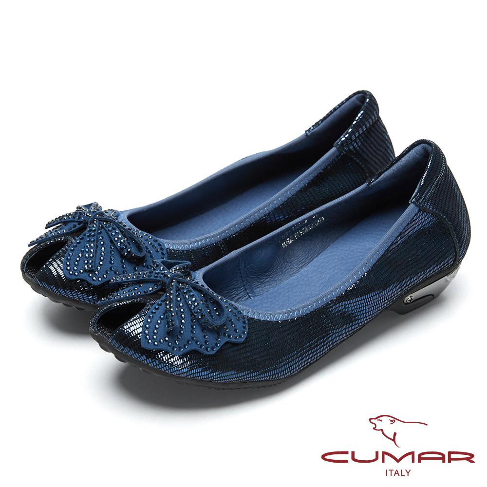CUMAR搶眼時尚-金屬色系造型魚口鞋-藍色