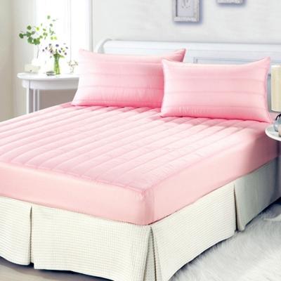 精靈工廠 防潑水粉彩雙人床包式保潔墊-櫻花粉