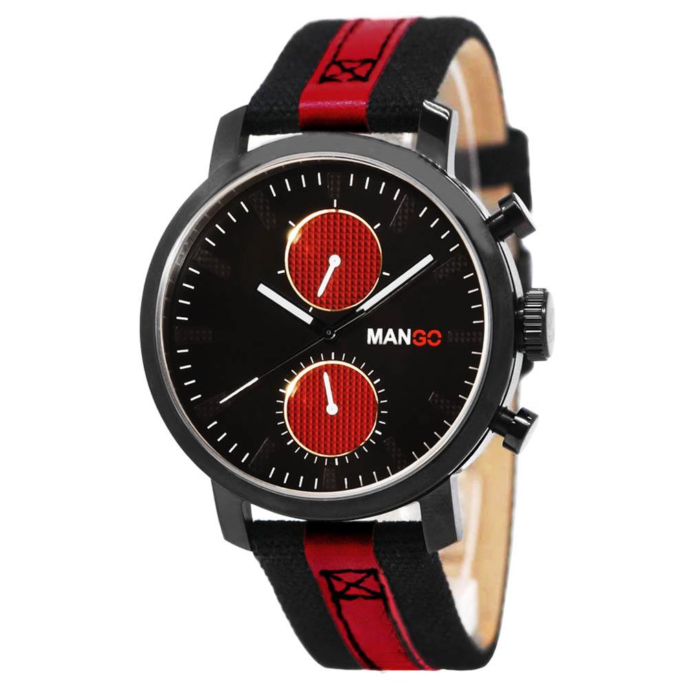 MANGO HOMME 魅力帆布經典時尚腕錶 黑x紅/42mm