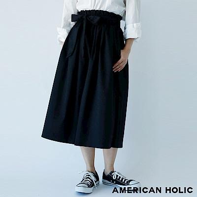 AMERICAN HOLIC 素面/條紋打摺設計綁帶寬褲
