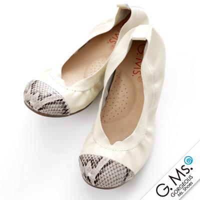 【G.Ms.】旅行女孩II‧蛇紋拼接全真皮可攜式軟Q娃娃鞋(附專屬鞋袋)‧米白