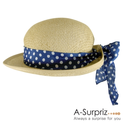 A-Surpriz 點點蝴蝶結緞帶中折帽(米黃)