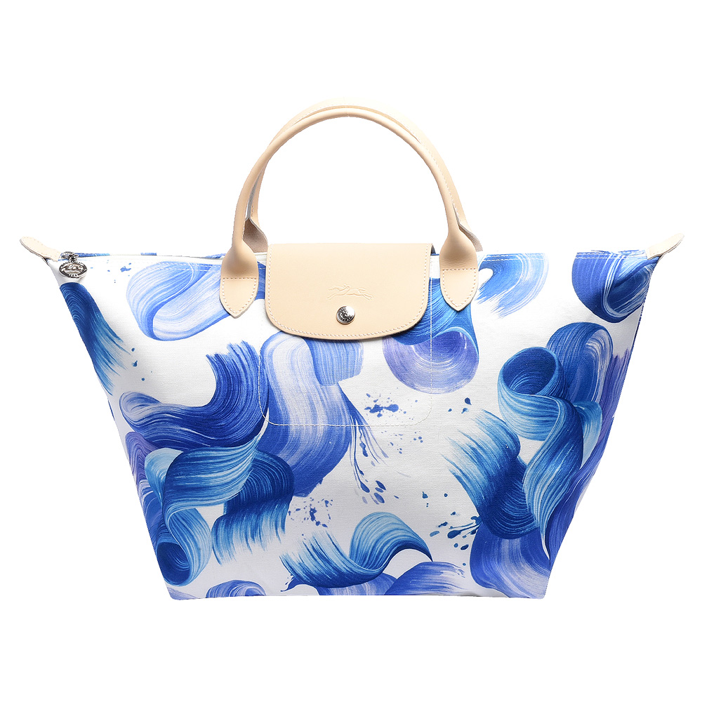 LONGCHAMP SPLASH系列水花圖紋短把棉質帆布水餃包(中-藍莓色)LONGCHAMP