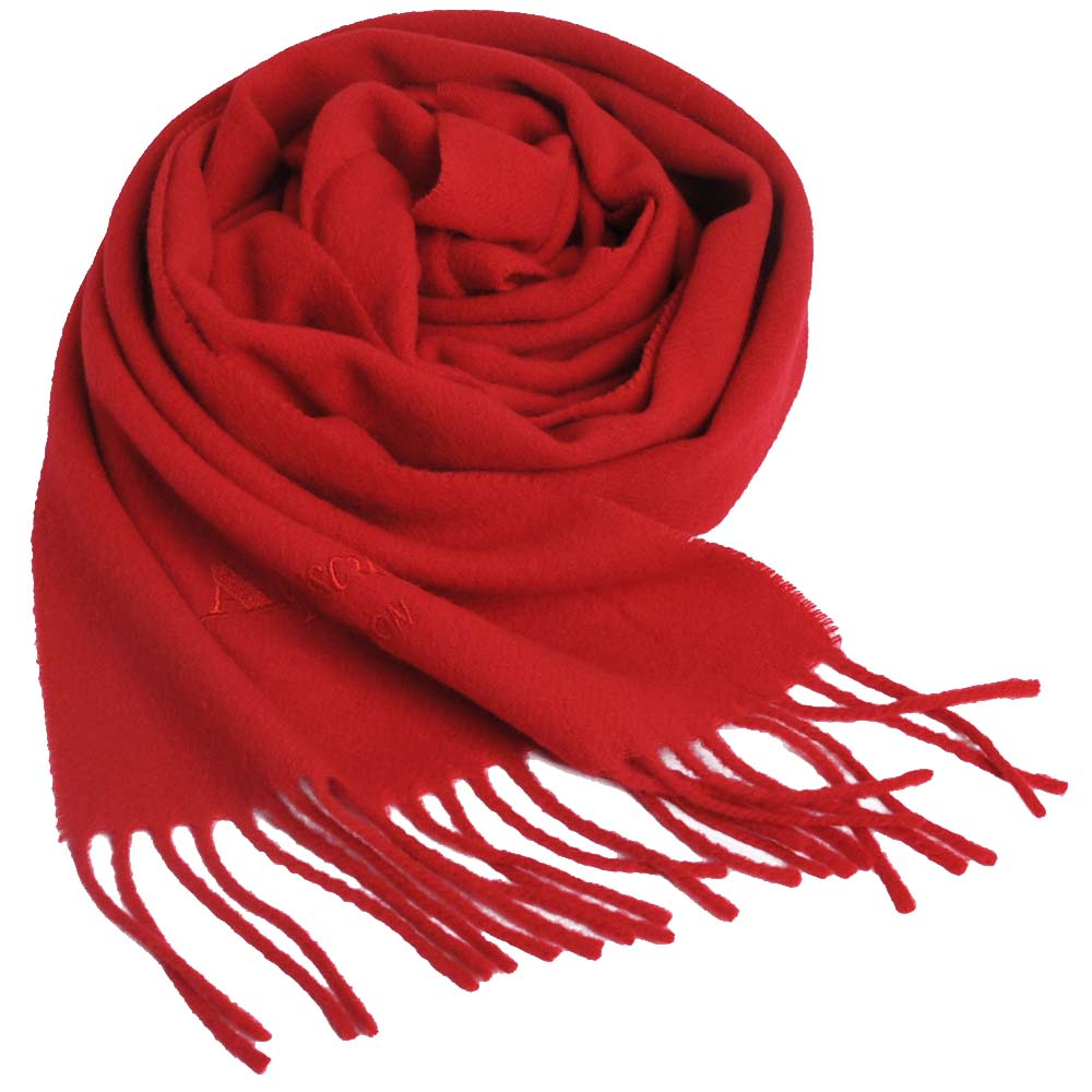Aquascutum 高質感100%羊毛經典品牌字母LOGO刺繡圍巾(紅)