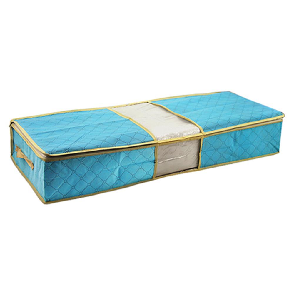 月陽超值2入85X40竹炭彩色透明視窗床下棉被衣物收納袋整理箱