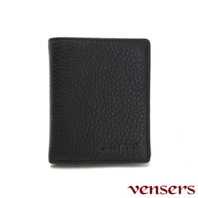 vensers 小牛皮潮流個性皮夾~(NB201001黑色短夾)