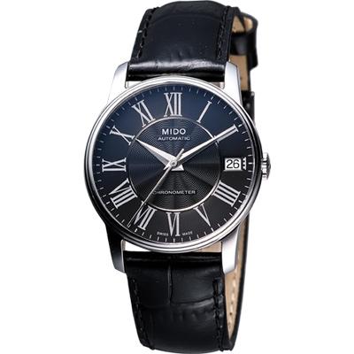 MIDO Baroncelli III Lady 天文台認證機械腕錶-黑/皮帶/33mm