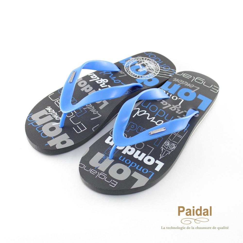 Paidal 男款塗鴉風個性倫敦夾腳拖海灘拖人字拖鞋-藍