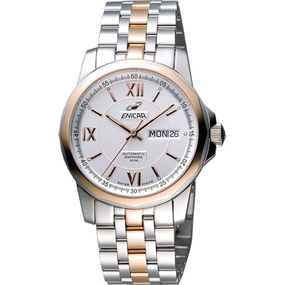 ENICAR 英納格 羅馬經典日曆機械腕錶-銀x雙色版/39mm