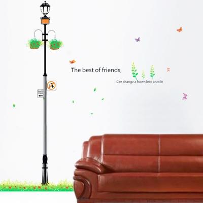 A-214創意生活系列-路燈花籃 大尺寸高級創意壁貼 / 牆貼