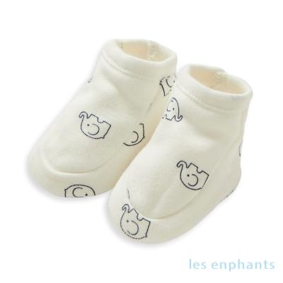 麗嬰房les-enphants-SOFT居家系列經典小象嬰兒腳套-白色