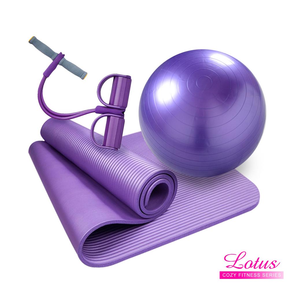 瑜珈系列-超值三件組彈力繩瑜珈墊瑜珈球-LOTUS
