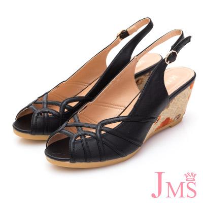 JMS-氣質典雅曲線印染楔型跟涼鞋-黑色