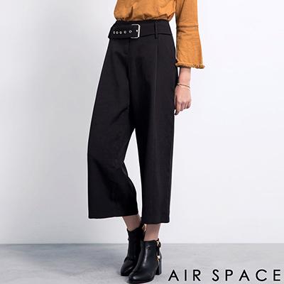 AIR-SPACE-金屬排釦高腰西裝寬褲-黑