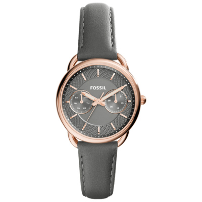 FOSSIL 精緻時尚日期腕錶-玫瑰金x深灰皮帶/35mm(ES3913)