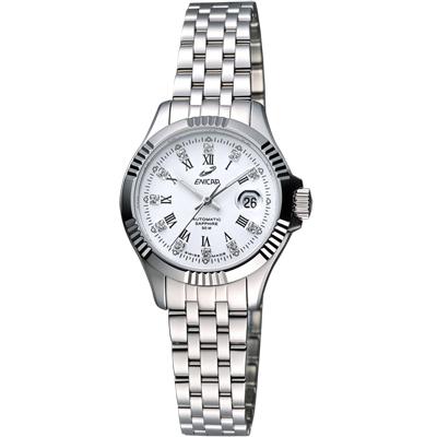 ENICAR 英納格 自動系列璀燦晶鑽機械女錶-白/28mm