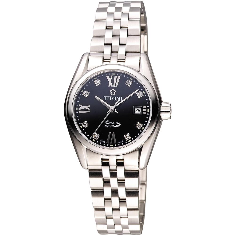 TITONI Airmaster 復刻日曆晶鑽腕錶-黑/27mm