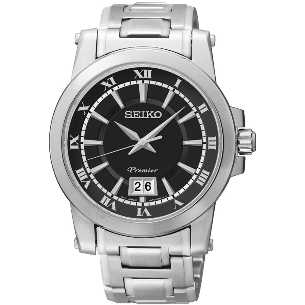 SEIKO Premier 羅馬主義大視窗時尚腕錶(SUR015J1 )-黑/40mm