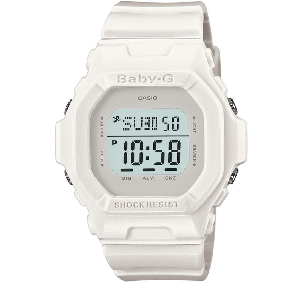 BABY-G 新經典代表個性霧面數位休閒腕錶-白/42.8mm