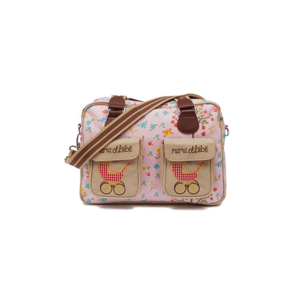 【PinkLining】時尚繽紛媽媽包│復古嬰兒車-粉紅蘋果樹