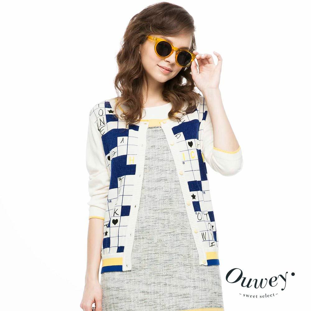 OUWEY歐薇 填字遊戲趣味圖紋針織外套(米)