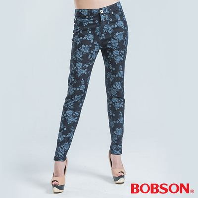 BOBSON 高腰拔染印花小直筒褲-藍色