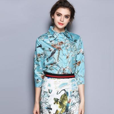 水藍鳥語花朵印花長袖襯衫M-2XL-REKO