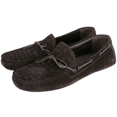 BOTTEGA VENETA 經典編織麂皮莫卡辛鞋(咖啡色/男)