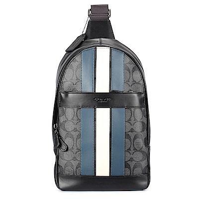 COACH 經典LOGO PVC防水藍白條紋皮革單肩/斜背包-藍灰色