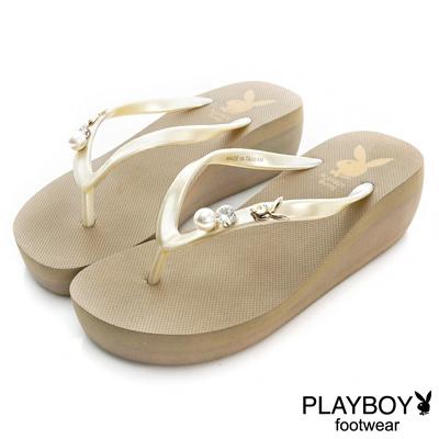 PLAYBOY迷人嬌點 水鑽珍珠厚底夾腳拖鞋-卡(女)