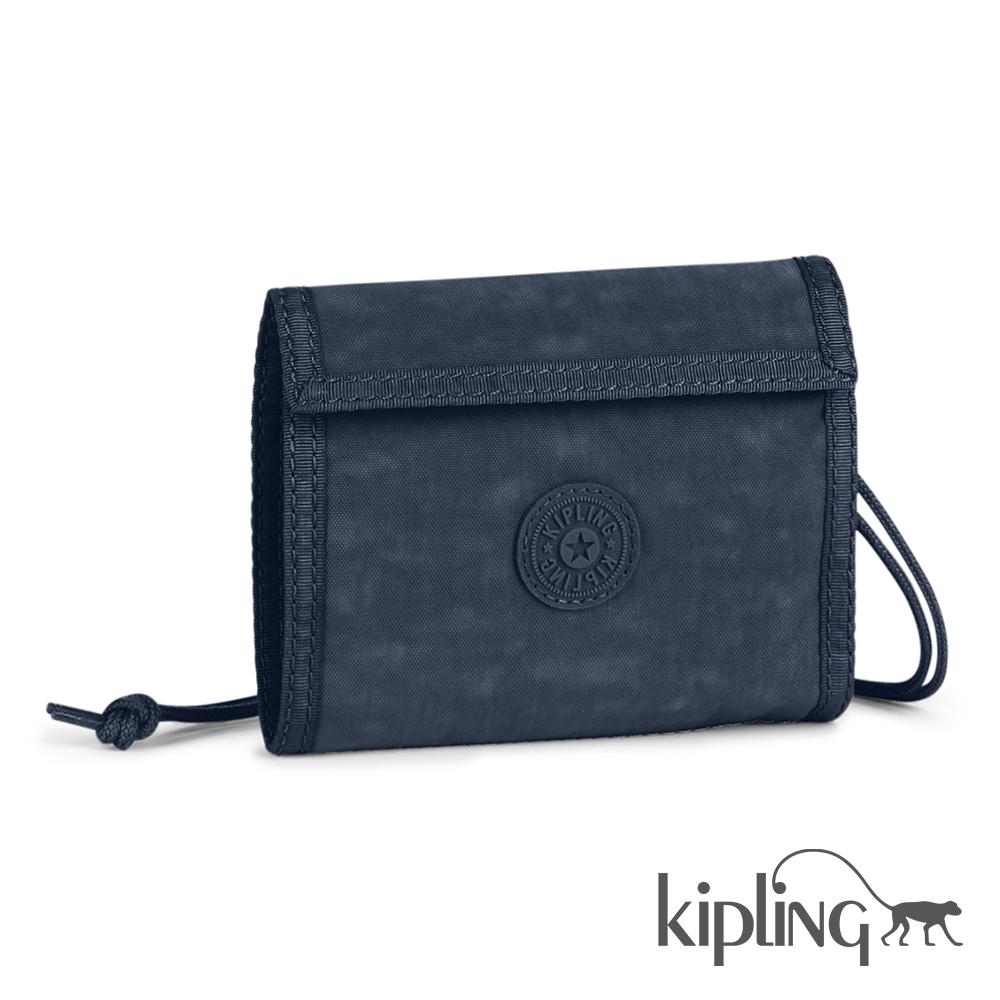 Kipling 零錢包 藍黑素面-小