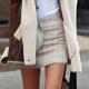 【N.C21】反光線條交織格紋毛短裙 (共二
