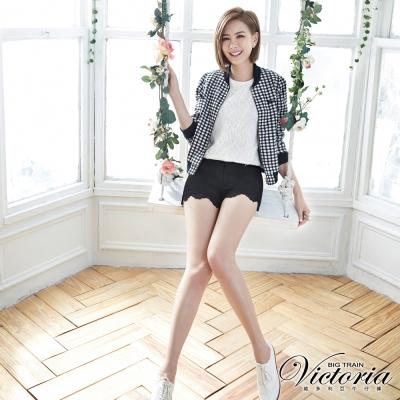 Victoria 蕾絲褲口拼接短褲-女-黑