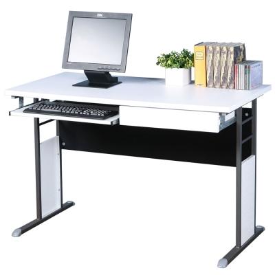 Homelike 巧思辦公桌 炫灰系列-白色加厚桌面120cm(附抽屜+鍵盤架)