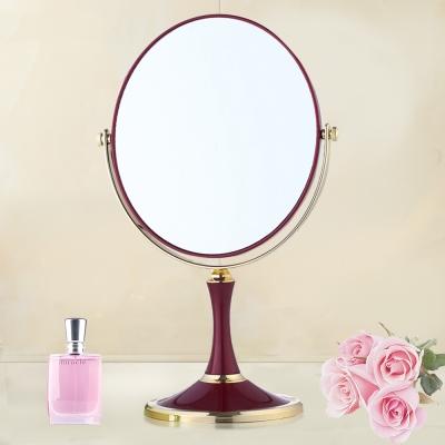 幸福揚邑 歐式時尚8吋酒紅橢圓超大梳妝美容化妝放大雙面桌鏡