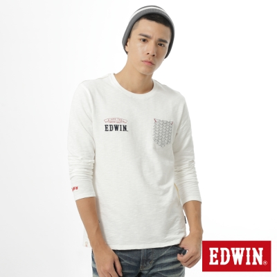 EDWIN-江戶勝-海浪口袋印花薄長袖T恤-男-米