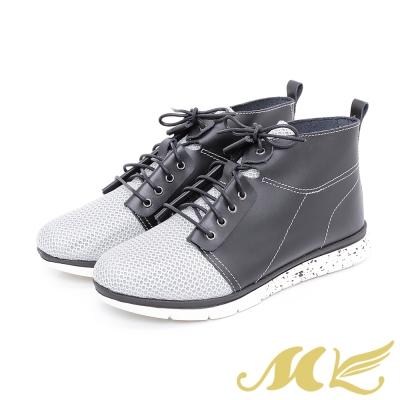 MK-台灣真皮系列-極輕量透氣綁帶高筒休閒鞋-灰黑
