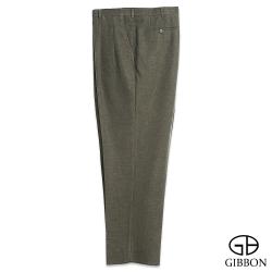 GIBBON 大尺碼仿毛人字紋打摺西裝褲‧苔綠