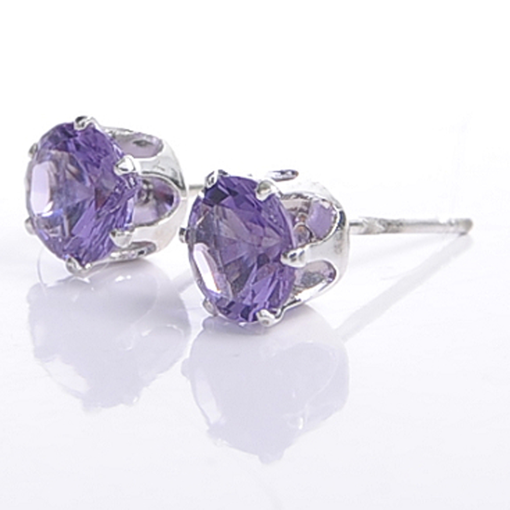 Aimee Toff 唯美單鑽耀眼光芒耳環(紫)