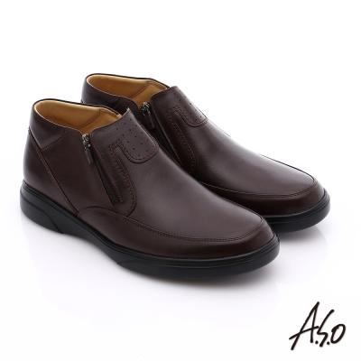 A.S.O 厚切氣墊 羊皮直套式拉鏈奈米氣墊皮鞋 咖啡