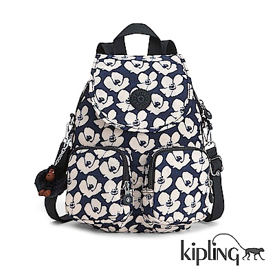 Kipling 後背包 夏日時光花卉印花-大