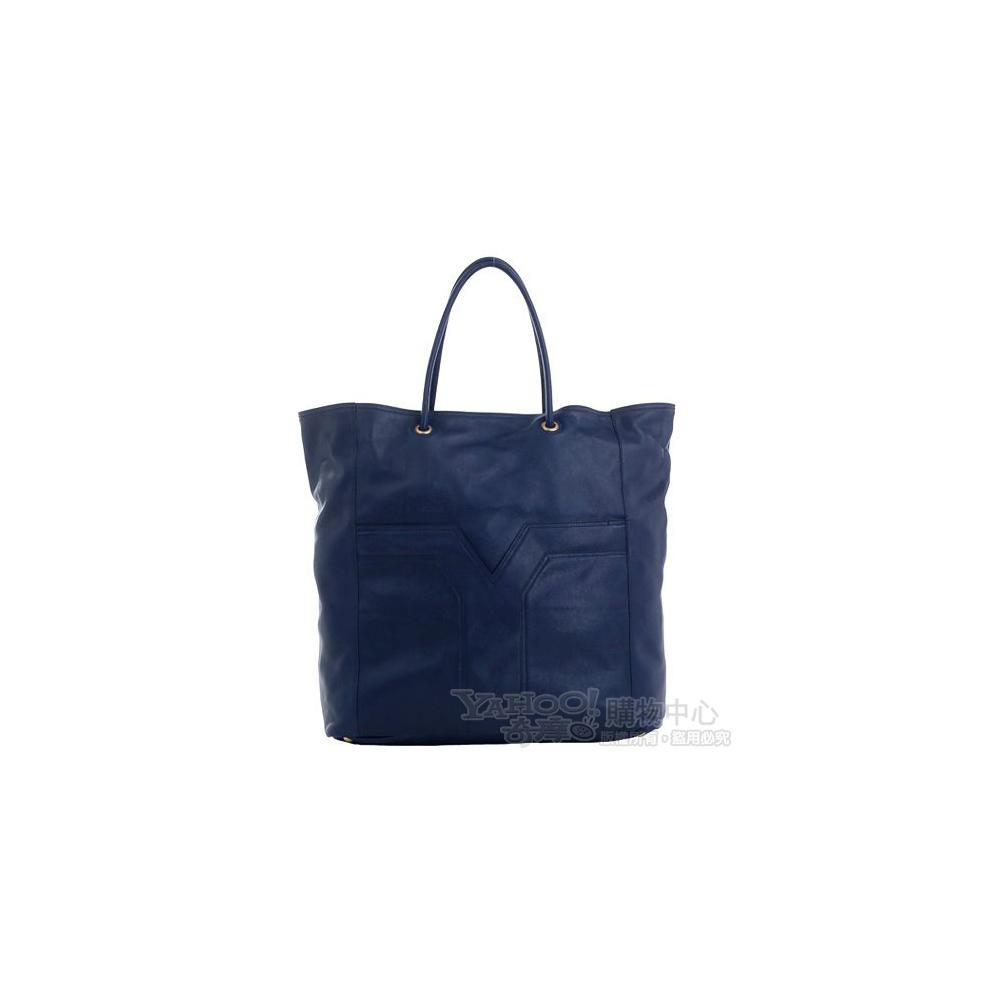 YSL Lucky Chyc 小羊皮直立式購物包(特大/深藍色)