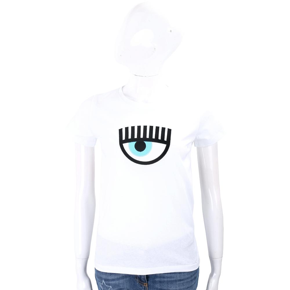 Chiara Ferragni 大童版經典眼睛刺繡白色棉質T恤