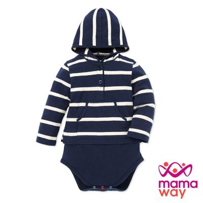 mamaway媽媽餵 Baby連帽開襟橫紋包屁衣(共3色)